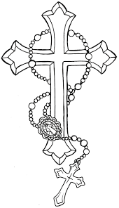 rosary cross and 3d skull with butterfly tattoo design