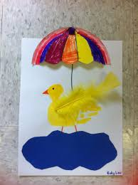 rainy day duckling handprint kids cut out pond decorate half