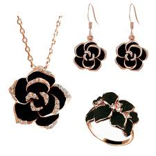 black jewelry necklace images Bn1200 18ct rose gold plated black crystal jewellery set billionia jpg