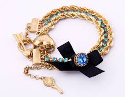 chain bracelet with heart charm images Wholesale fashion gold chain bow key heart charm bracelet jpg