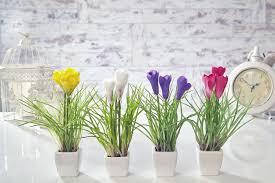 Home Decorating Plants Artificial Crocus Flowers Plants In Pot Home Decor Garden Red