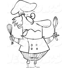 vector of a cartoon crazy chef outlined coloring page by