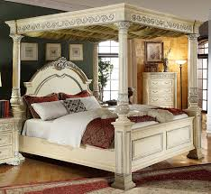Traditional Bedding Bedroom King Size Beige Modern Stained Solid Wood Canopy Bed
