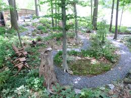 Rustic Landscaping Ideas For A Backyard by Gravel Pathway Is A Wooded Landscape Destination Sitting Area