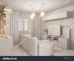 minimalist style interior design 3d illustration living room kitchen interior stock illustration