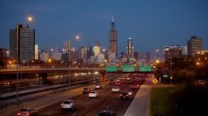 city backdrop highway in chicago against the backdrop of the city at