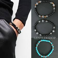 mens black beaded bracelet images Mens fashion black brown beaded 3d steel beads bracelet 41 jpg