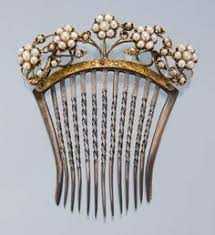 georges nouveau floral hair comb carved horn and
