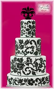 damask ornament cake topper