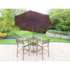 Patio Umbrella Table And Chairs Bar Height Dining Sets Outdoor Bar Furniture The Home Depot