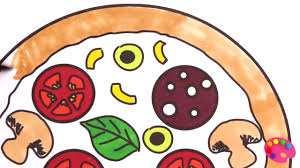 how to draw pizza coloring for kids learning colouring pages with