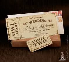 Wedding Invitation Model Cards Vintage Ticket Save The Date Or Wedding Invitation Set Free