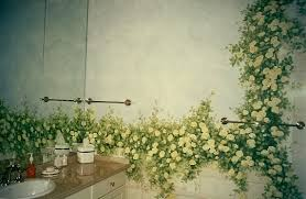 engaging bathroom with stunning floral vintage wall paint decor