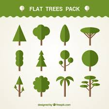 set of different flat trees vector premium