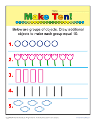 make ten addition kindergarten math worksheets