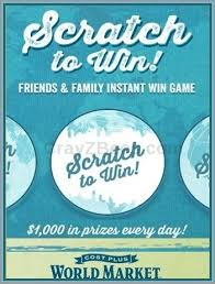instant win gift cards world market s friends and familyscratch to win instantly win