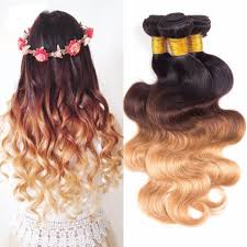 Hair Weave Extensions by Straight Body Wave Ombre Hair Three Tone Colored 1b 4 27 100