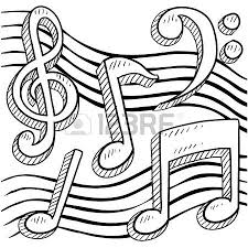 doodle style musical notes seamless background pattern sketch