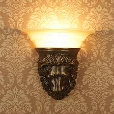 rustic wall sconce lighting vintage lion resin fixture rustic wall sconce lighting