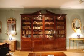 Break Front Bookcase 18th Century Architectural Mahogany Breakfront Bookcase Circa
