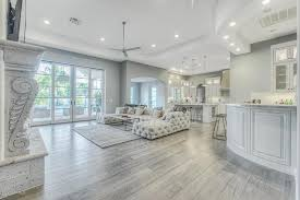 contemporary living room with hardwood floors french doors