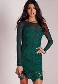 green dress floral lace mesh bodycon dress green missguided