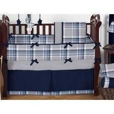 sweet jojo designs navy blue and grey plaid boys baby bedding 9pc