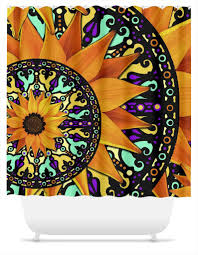Sunflower Yellow Curtains by Sunflower Talavera Orange Purple And Green Floral Artist Shower