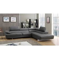 canapé grand canapé grand angle en cuir avec têtières réglables vittoria gris