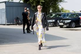 style a floral dress with a leather jacket how to wear ankle