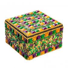 mardi gras trinkets gold jeweled square mardi gras trinket box mg19 123