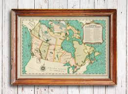 Canada National Parks Map by Canada National Parks Map Vintage Style Canada Map Canada