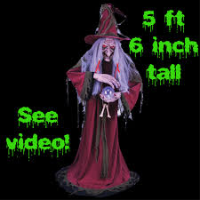 life size animated gypsy witch fortune teller halloween prop new