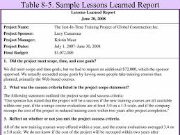 lessons learned report template report project sle fieldstation co