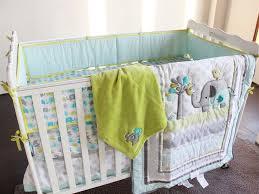 5 pcs baby bedding set crib set embroidered cartoon elephant