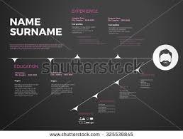 horizontal modern cv resume template timeline stock vector