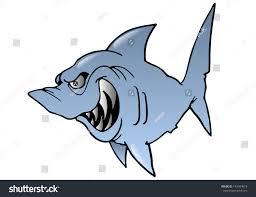 illustration cartoon grey hideous shark on stock illustration