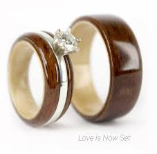 wooden wedding bands wood wedding band sets wedding idea womantowomangyn