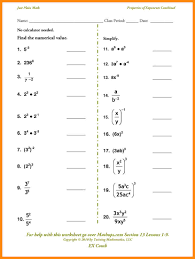 exponents worksheets 6th grade simplifying radicals worksheet with