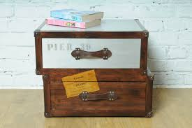 trunk style bedside tables nautical vintage time travel trunk bedside table industrial style