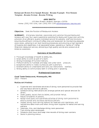 resume exles for restaurant restaurant host resumes pertamini co