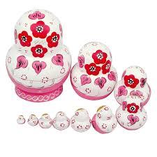 amazon com leegoal 10pcs pink wooden russian nesting dolls gift