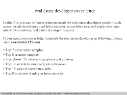 Job Developer Resume Sample by Real Estate Developer Cover Letter