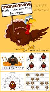 free thanksgiving math literacy printable pack for prek
