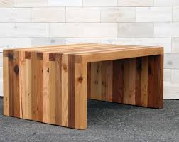 the arcadian box joint bench coffee table made from reclaimed cedar