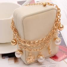 gold bracelet with pearl charm images Charm bracelets bangles fashion crystal pierced imitation pearl jpg