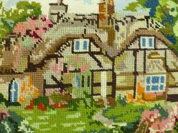 vintage needlepoint country cottage embroidered cushion
