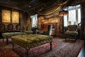 the living room was sumptuous every surface covered in a fabric