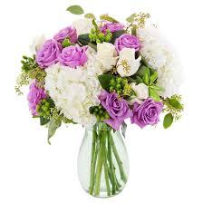 Vase French Kabloom French Violet Roses And Hydrangea Fresh Flower Arrangement