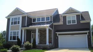 brown exterior paint colors with stone that has white garage door